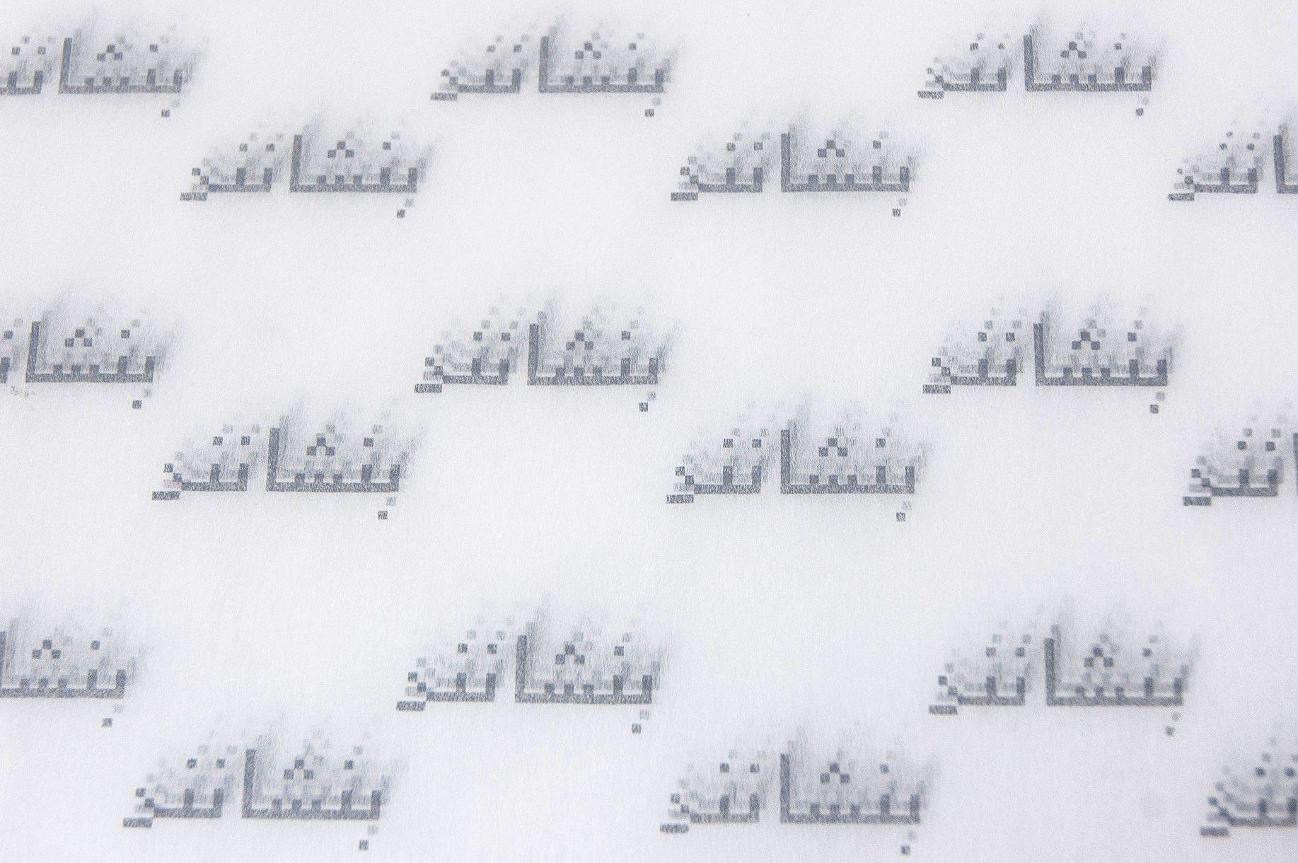Golnar Adili, Settling (Benshaanand)-Detail silkscreen on tissue