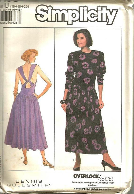 1980s Criss Cross Back Dress Stretch Knits Only Easy to Sew ...