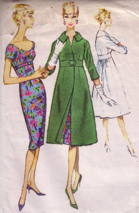 50s Vintage sewing Pattern - Sheath Dress & Empire Coat | Style ...