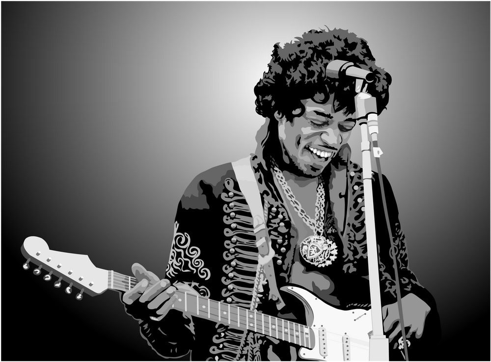 Jimi Hendrix Black And White Illustration Mini Art Print By Limitless Design Without Stand 3 X Black And White Illustration Jimi Hendrix Psychedelic Rock