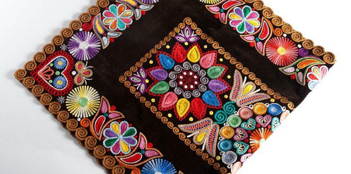 9961cbe86 Folk embroidery on velvet. A needle (called kriva ihla) similar to a ...