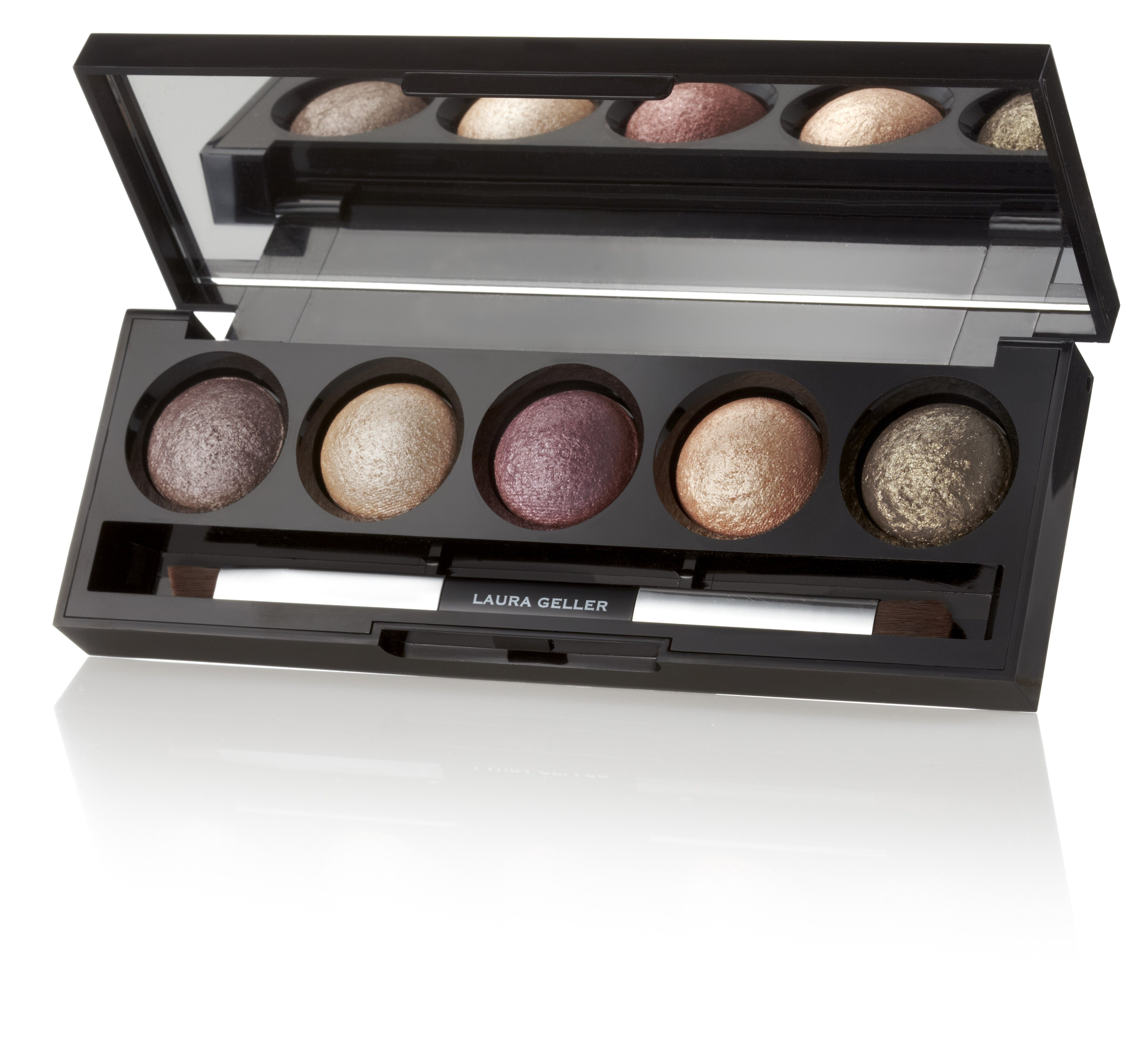 The Wearables Baked Eyeshadow Palette from LAURA GELLER -- Laura Geller Beauty introduces The Wearables, a palette of 5 Baked eyeshadows in must-have neutral hues that are anything but boring!  From soft golds and warm green to taupe and burgundy, these flattering shades bring out the best in all eye colors. Create a soft, natural look for day and build the drama for evening—the combinations are endless! Apply them dry for an understated effect or wet for a deeper color payoff.