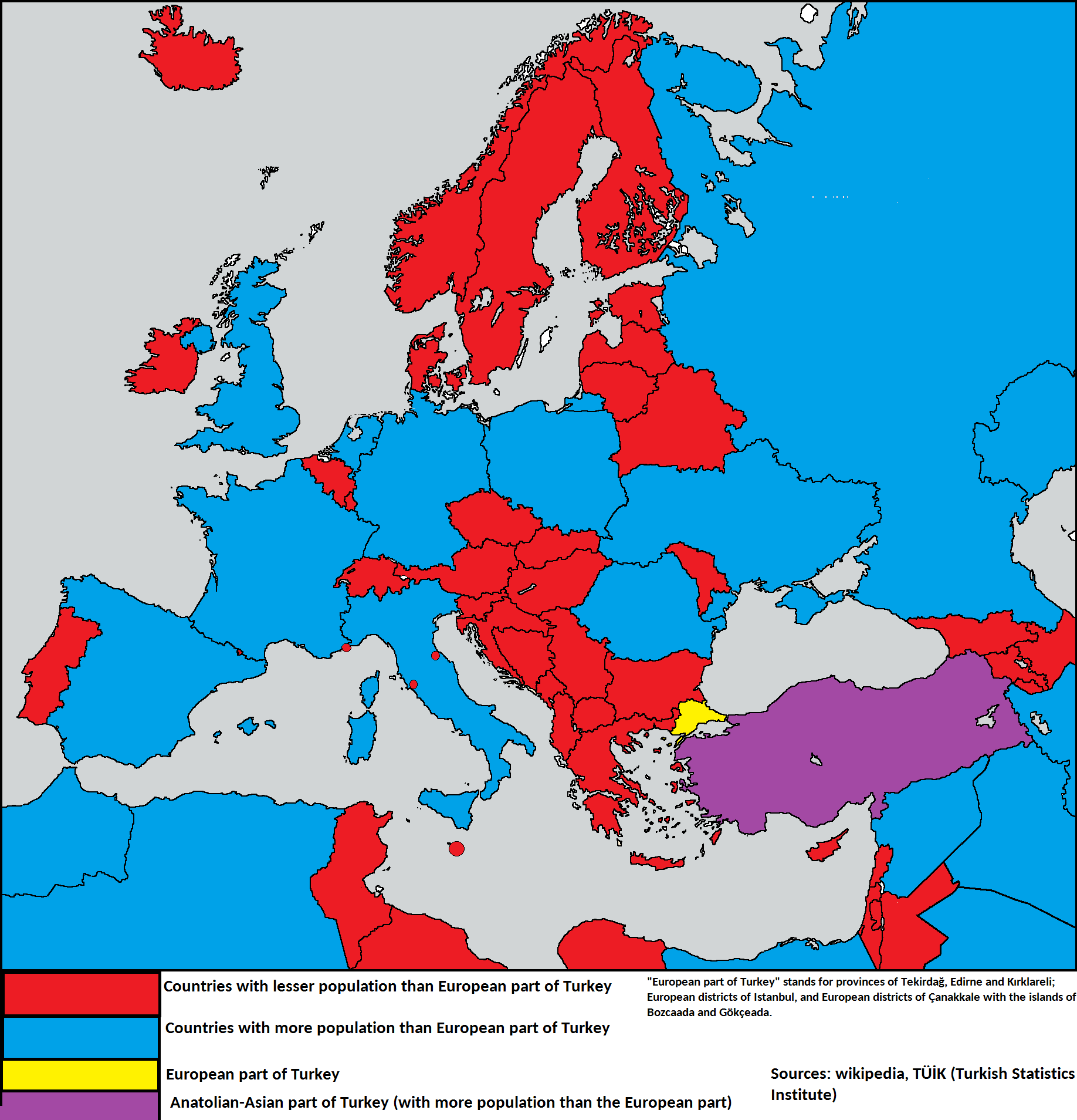 population comparison of european part of turkey aka thrace and countries of europe and