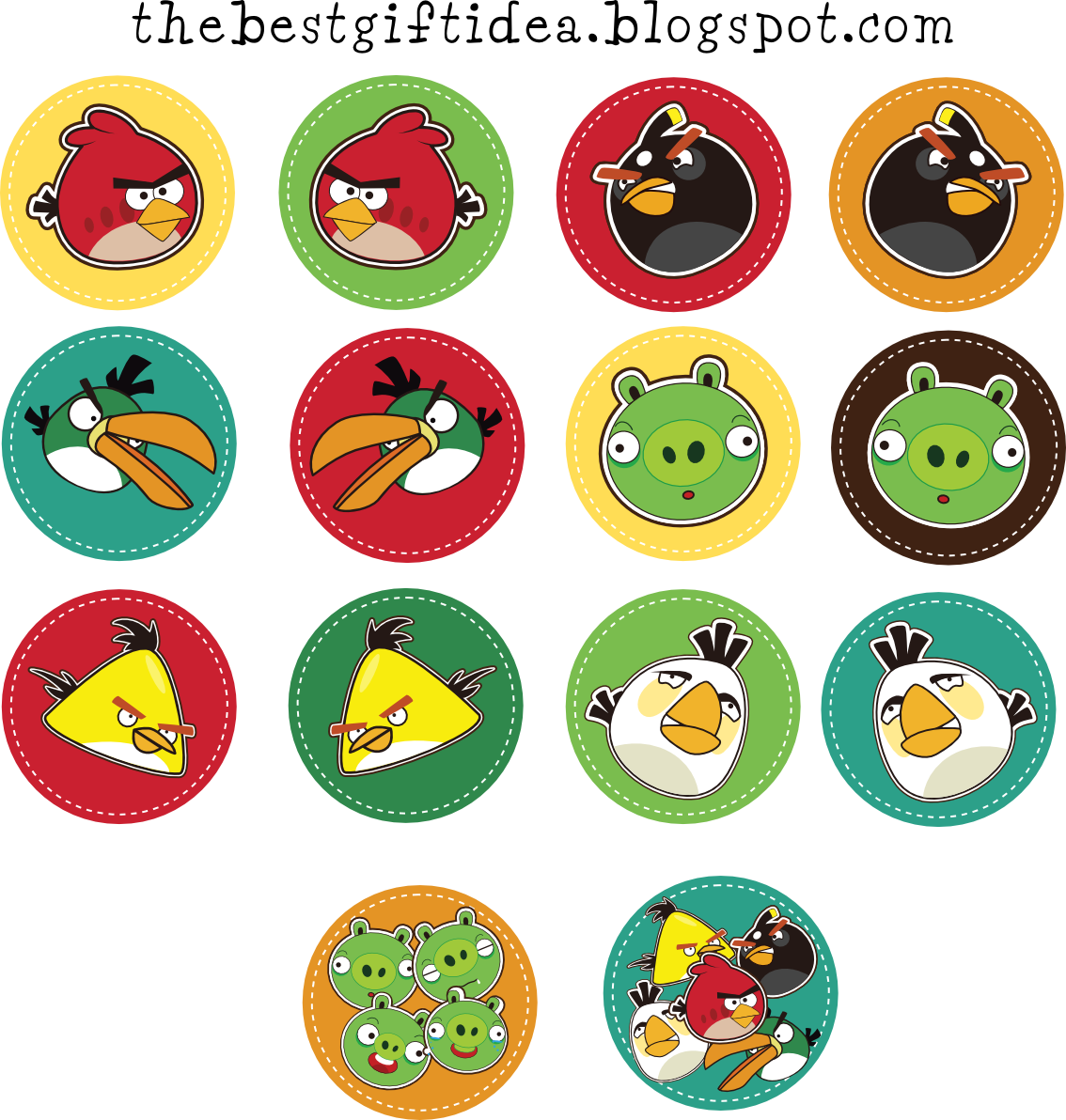 angry birds cupcake toppers {free print} | Ftes ...