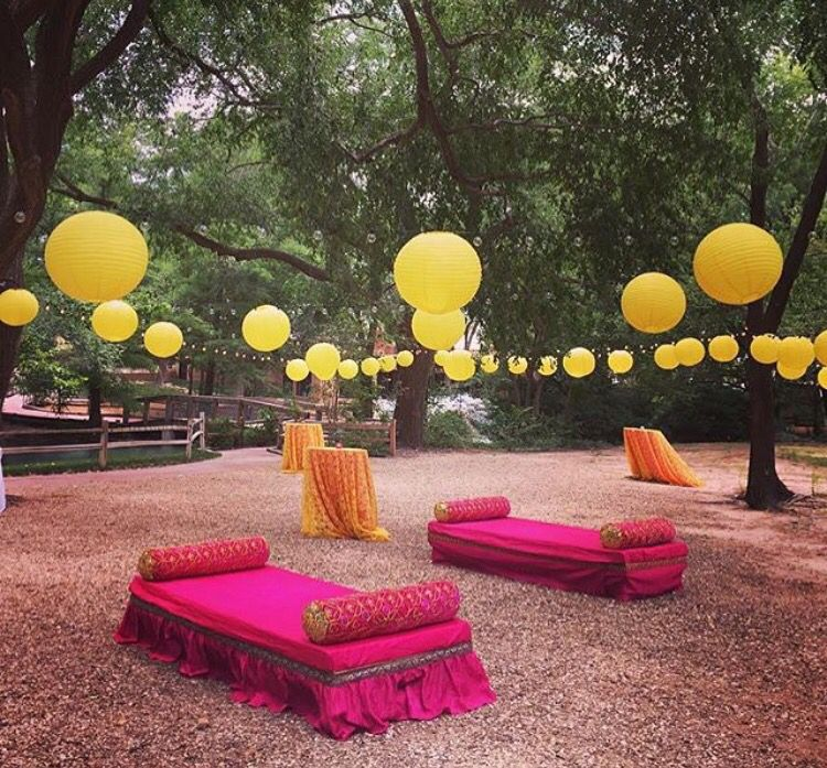 Indian Wedding Themes Ideas: Outdoor Mehandi Set Up # Indian Weddings # Creative Indian