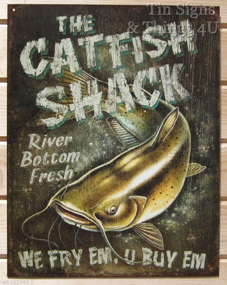 Catfish Shack funny TIN SIGN vtg bar garage metal fishing