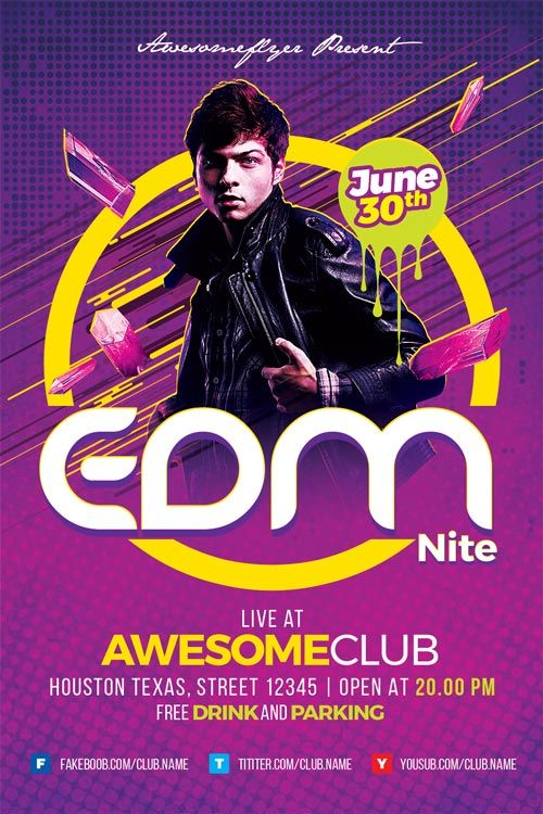 EDM Flyer Template -    ffflyer edm-flyer-template  Enjoy - comedy show flyer template