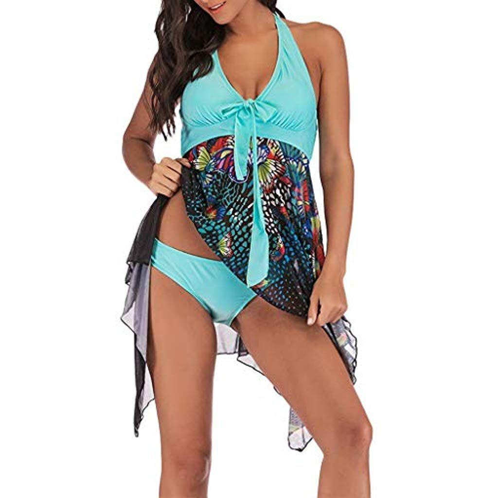 DamenÜbergröße Tankini Badebekleidung Badekleid Einteiliger Bikini Badeanzug DE