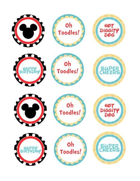 Mickey Mouse Clubhouse free printables   Cupcake toppers ... Mickey Mouse Cupcake Toppers Free