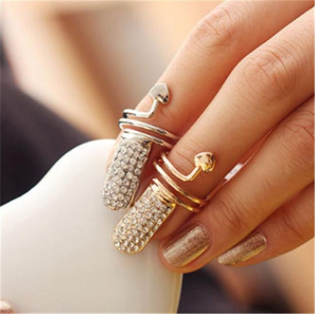 Fashion Punk Style Crystal Heart Knuckle Ring Finger Ring Nail  Rings Adjustable