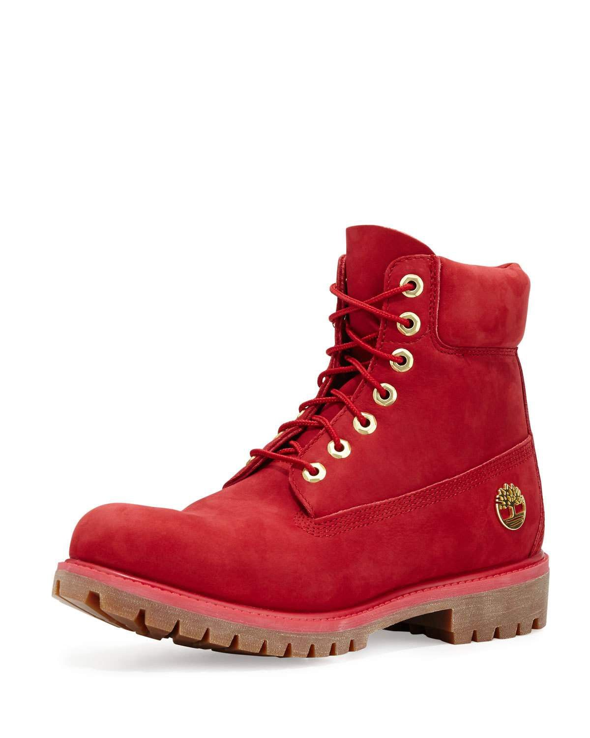 Timberland Red Lace Up Boot For Men