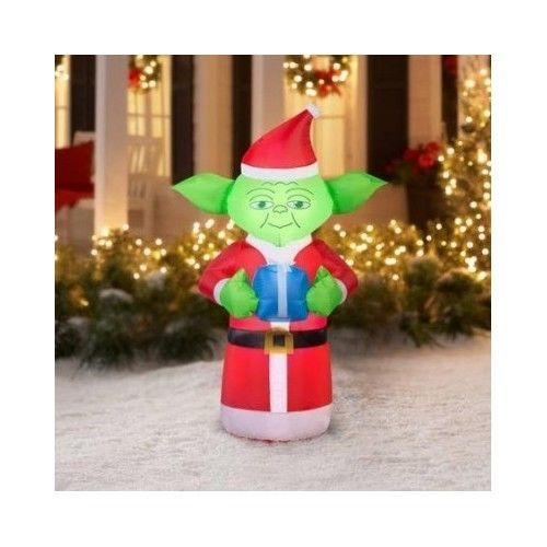 airblown inflatable yoda with present star wars christmas decoration yard 5 ft - Star Wars Inflatable Christmas Decorations