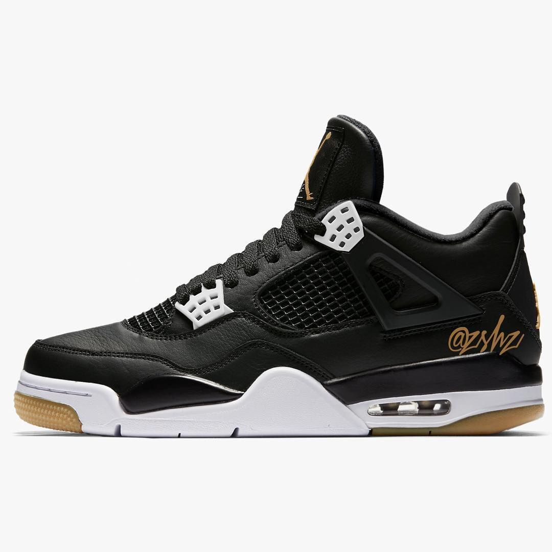4968f9dadc A brand new colorway of the Air Jordan 4 has surfaced with a black leather  upper and gum bottoms. The pair is rumored to release at the beginning of  2019 ...