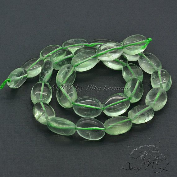 Natural Prehnite Beads Oval Shape Smooth Green Color by AoryNL