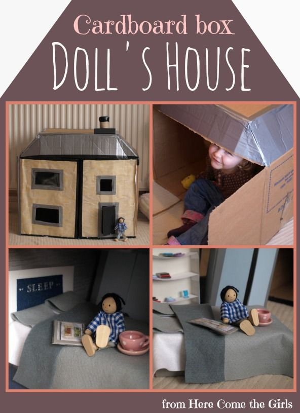 How we made a cardboard box dolls house - a thrifty present to make for kids.