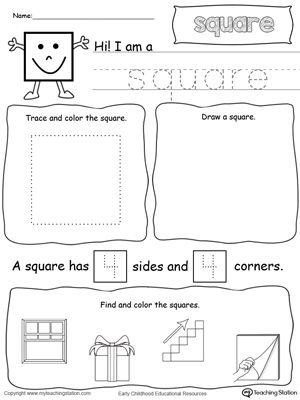 all about square shapes printable worksheets worksheets and math. Black Bedroom Furniture Sets. Home Design Ideas