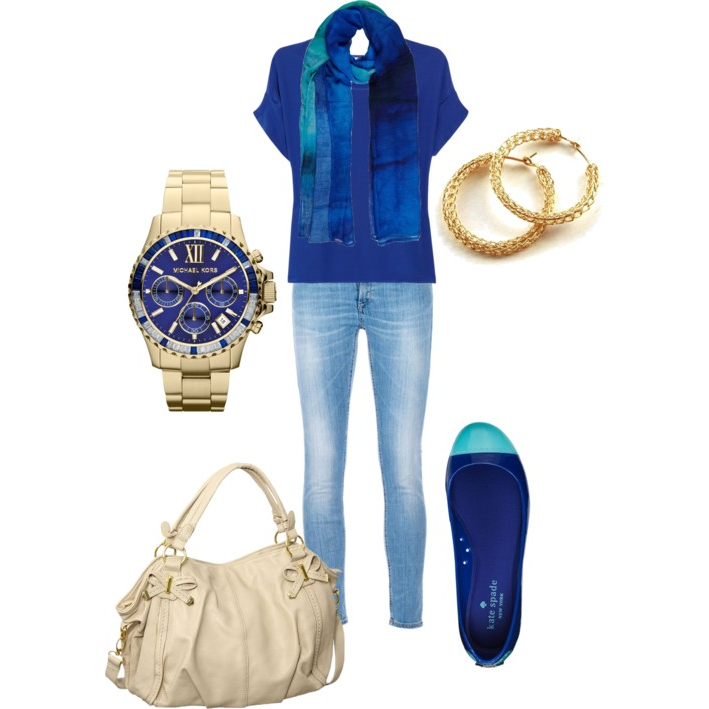 This casual outfit idea uses royal blue and turquoise.  Royal blue looks amazing on a LOT of seasons! Light spring, light summer, clear spring, clear winter, cool winter, deep winter, soft autumn, warm spring and cool winter all look perfect in royal blue!  As for the gold jewelry... switch to s