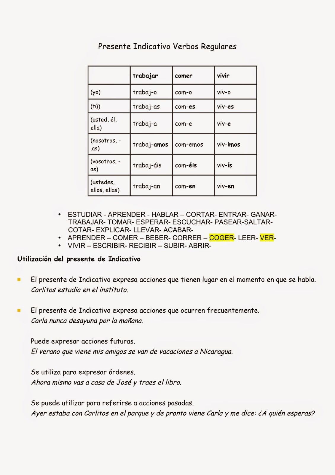 Gram Tica Presente Indicativo Verbos Irrregulares Ue High School Spanish 1 Gramatica Worksheet