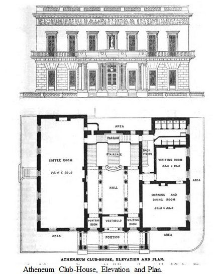 1854 Athenaeum Club House, Elevation And Plan. From: Pictorial Handbook Of  London