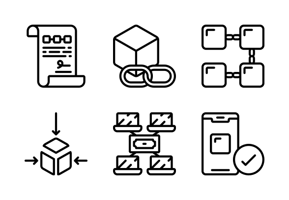 Block Chain Outline Icons By Juicy Fish Outline Fish Icon Vector Pattern
