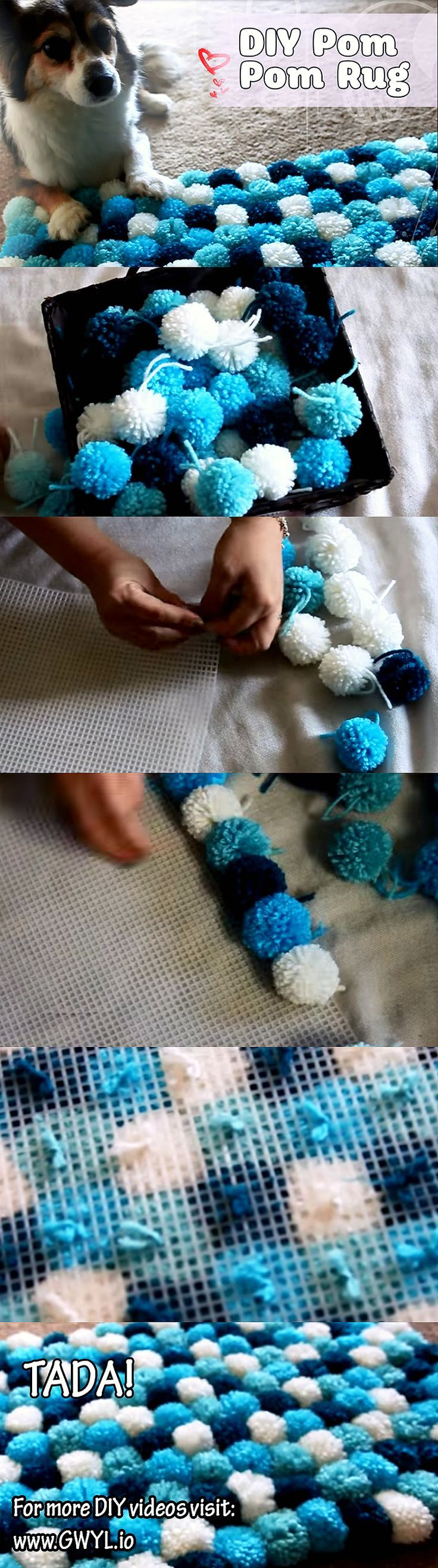 make a fluffy puffy pom pom rug pinterest tapis pompons et ponpon. Black Bedroom Furniture Sets. Home Design Ideas