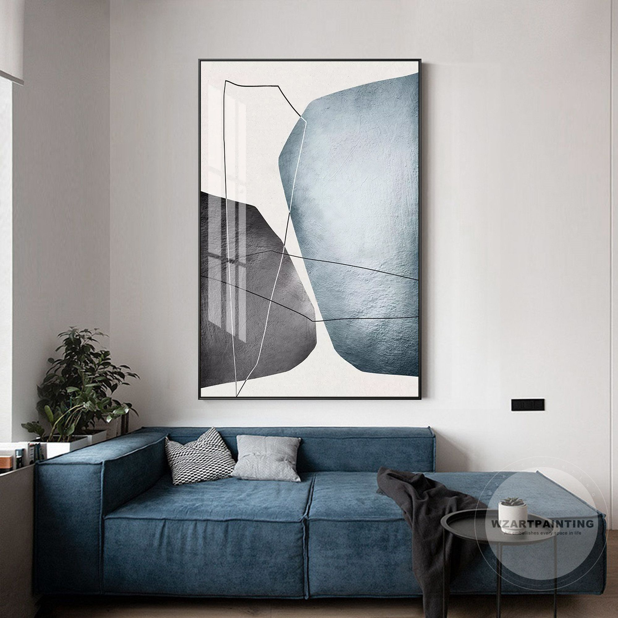 Framed Wall Art Modern Abstract Geometric Grey Blue White Line Etsy In 2020 Large Framed Wall Art Frames On Wall Wall Art Pictures
