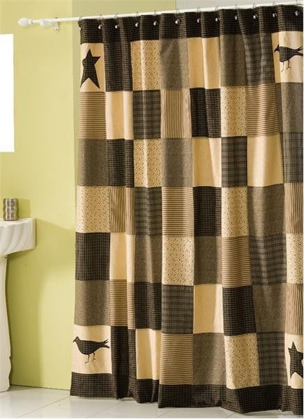 New Primitive Country BLACK TAN CROW STAR PATCHWORK Fabric Shower Curtain  #Country