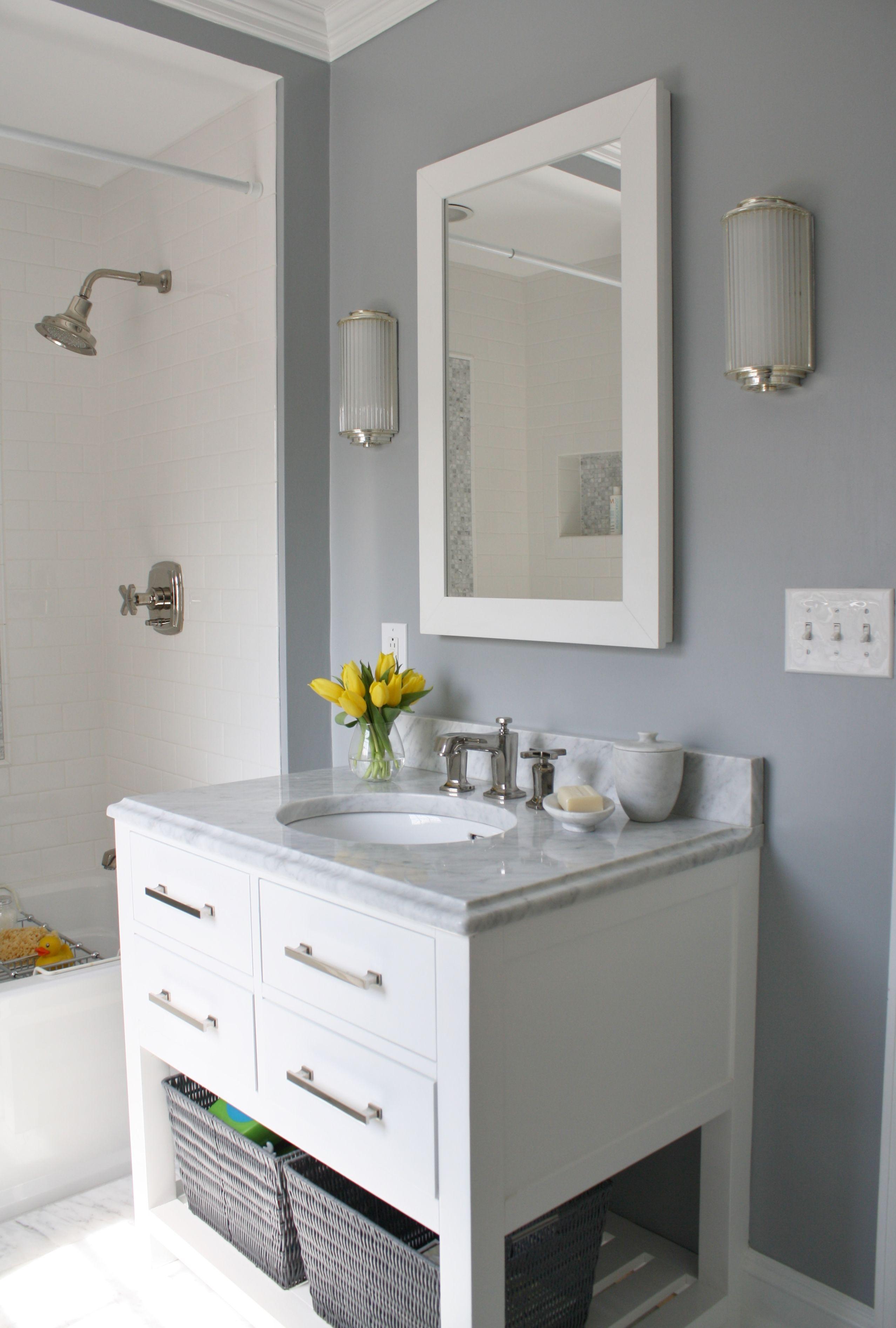 Modern Family Bath In Gray White And Yellow Color Scheme Kid Bathroom Decor Yellow Bathrooms Bathroom Vanity Designs