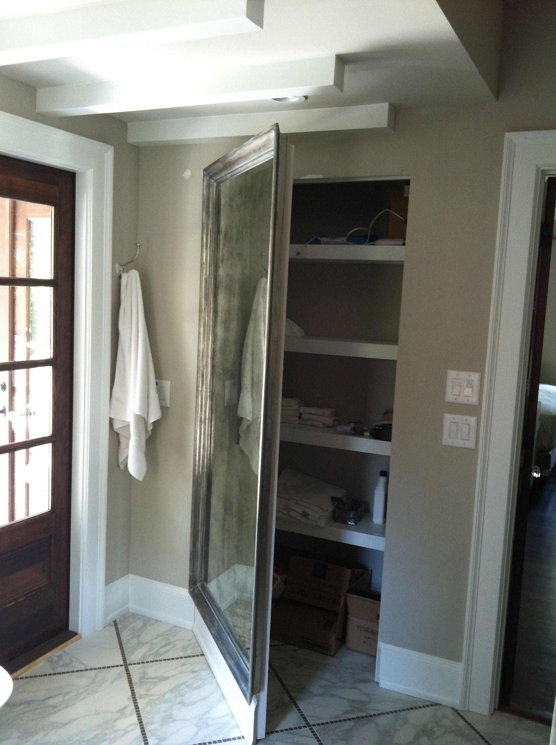 Mirrored Door Concealing A Closet Small Closet Door Ideas