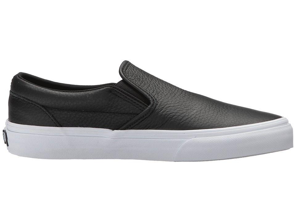 cb4cdc0422d2 Vans Classic Slip-On DX Skate Shoes (Tumble Leather) Black True White