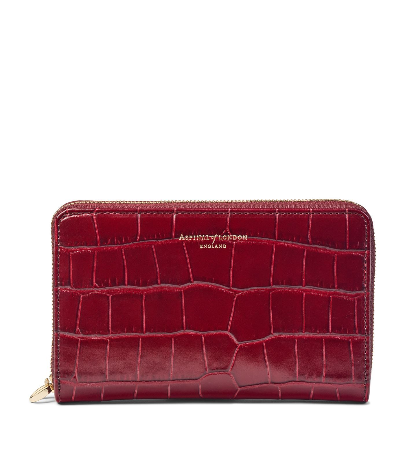 Croc Embossed Leather Continental Strap Purse In 2020 Purses Zip Around Wallet Leather