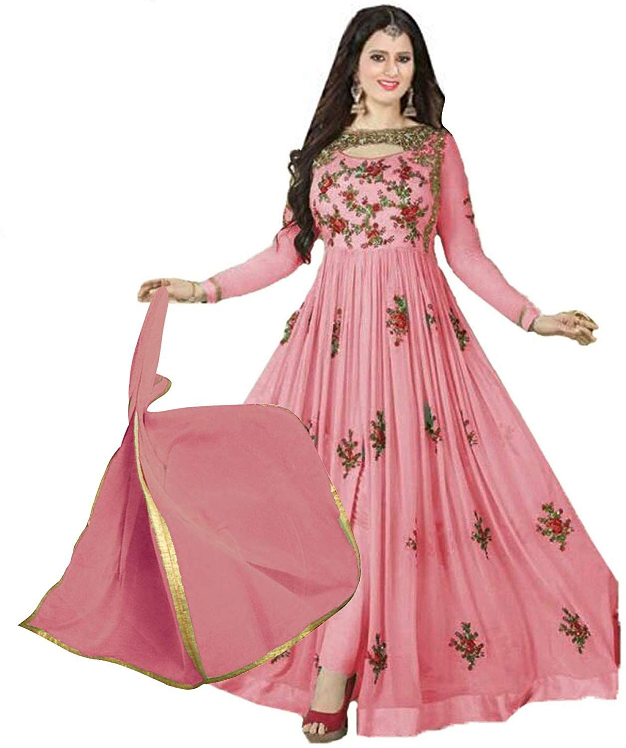 1b2d824c55 Pink Embroidery Georgette+Banlori SemiStitched Anarkali Churidar Salwar Suit:  Amazon.in: Clothing & Accessories