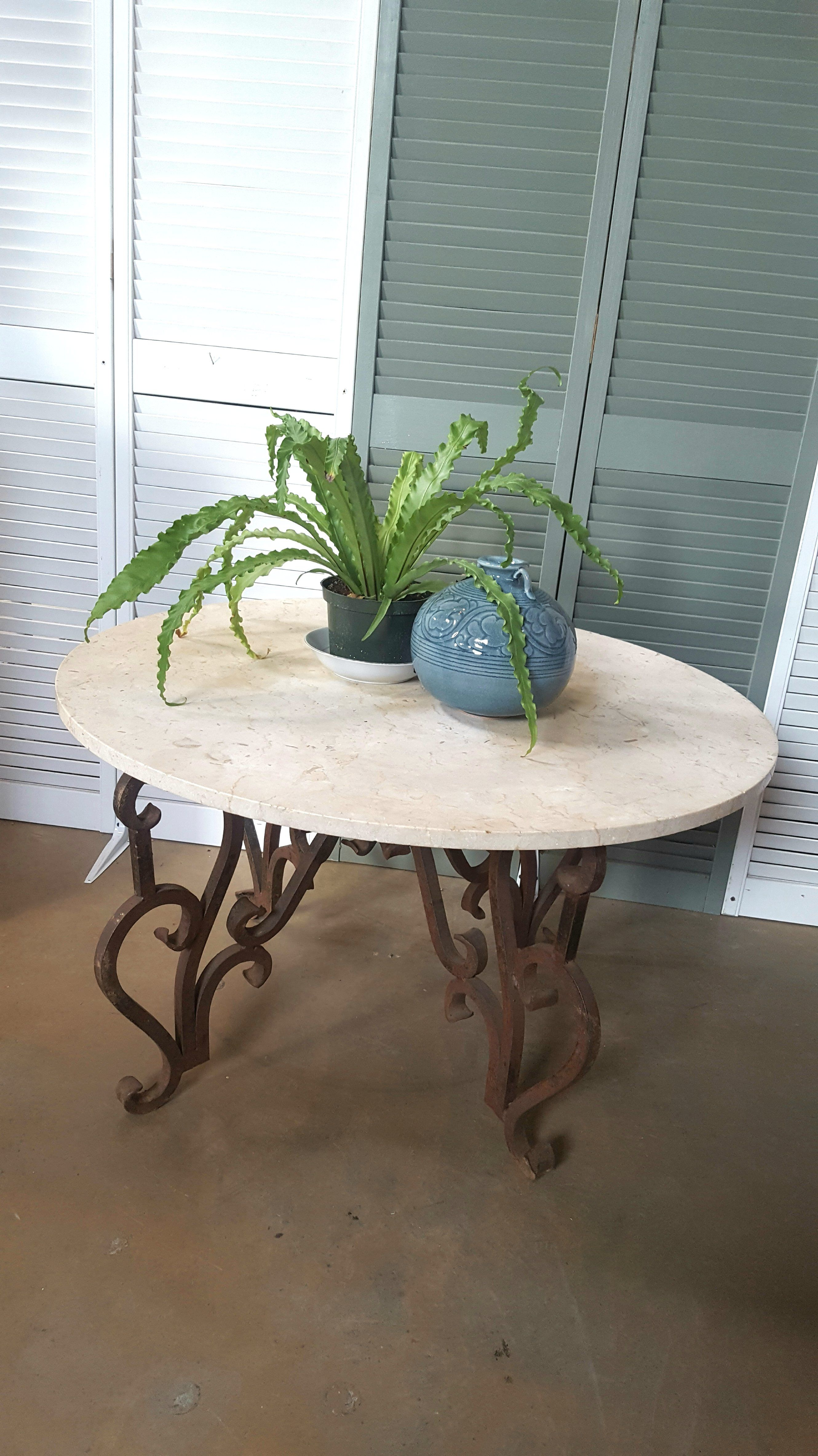 Round Marble Top Table With Wrought Iron Base Wrought Iron Table