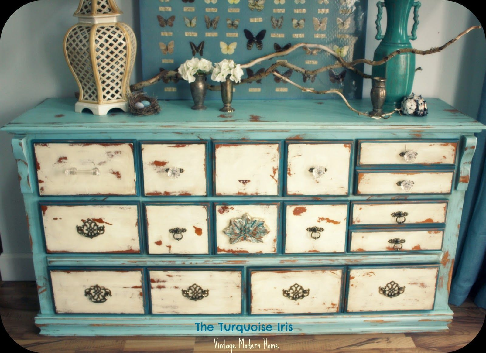 How to paint a vintage buffet home stories a to z - The Turquoise Iris Vintage Modern Home Vintage Distressed Dresser In Blue Creme
