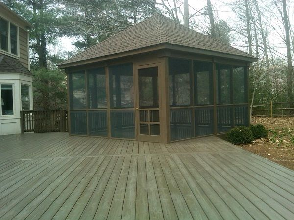 This Rustic Screened In Porch Is Reminiscent Of Cabins At Summer Camps Patio Gazebo Gazebo On Deck Screened Gazebo