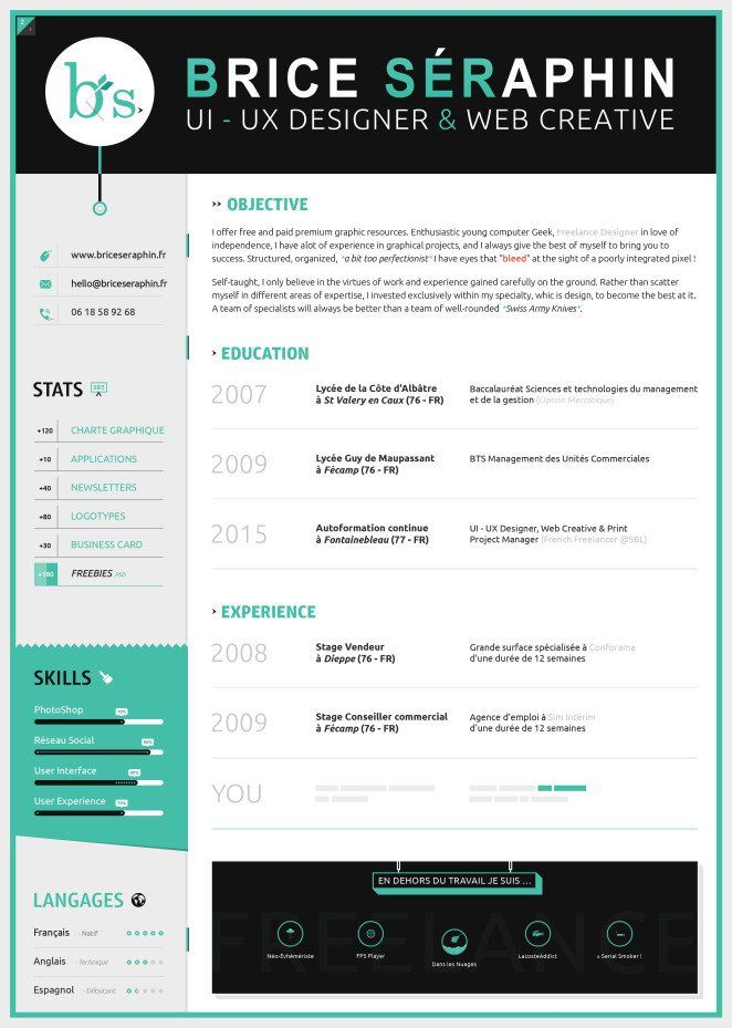 50 Inspiring Resume Designs And What You Can Learn From Them - resume with accent