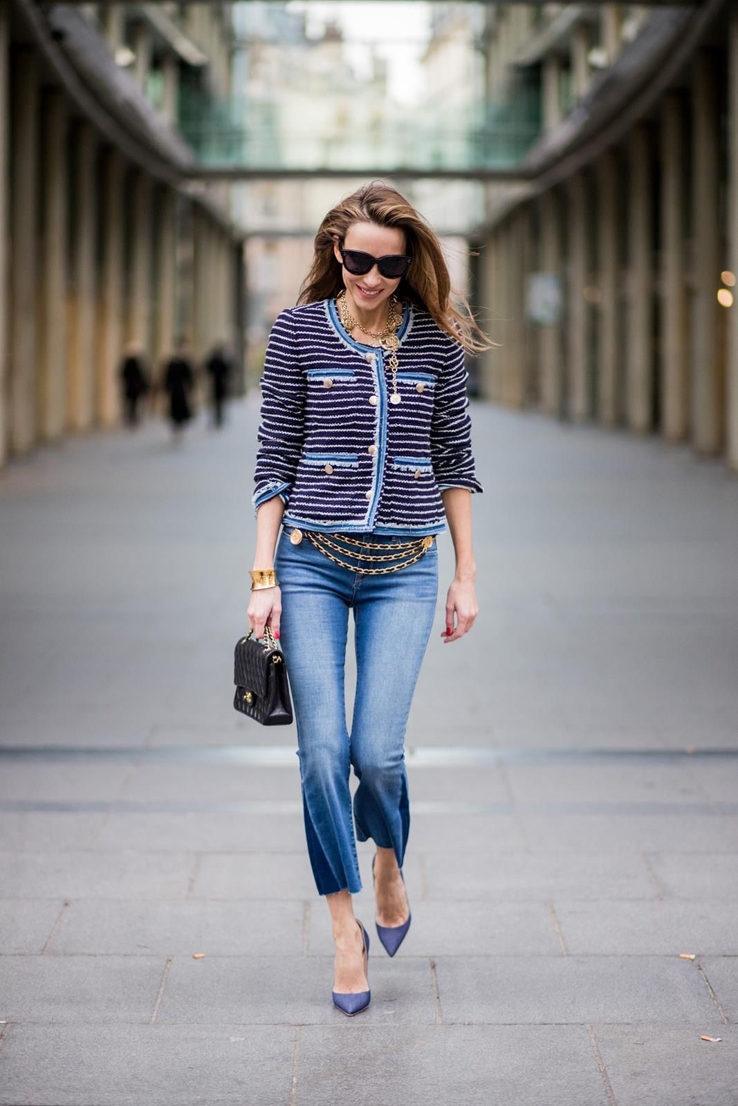 553bdac65291 Alexandra Lapp wearing Chanel Vintage  striped tweed jacket in marine tones  and flared jeans from