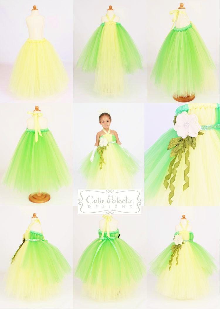 Tutu Dress Green Yellow Diy Tutu Princess Tiana Dress Tiana Dress