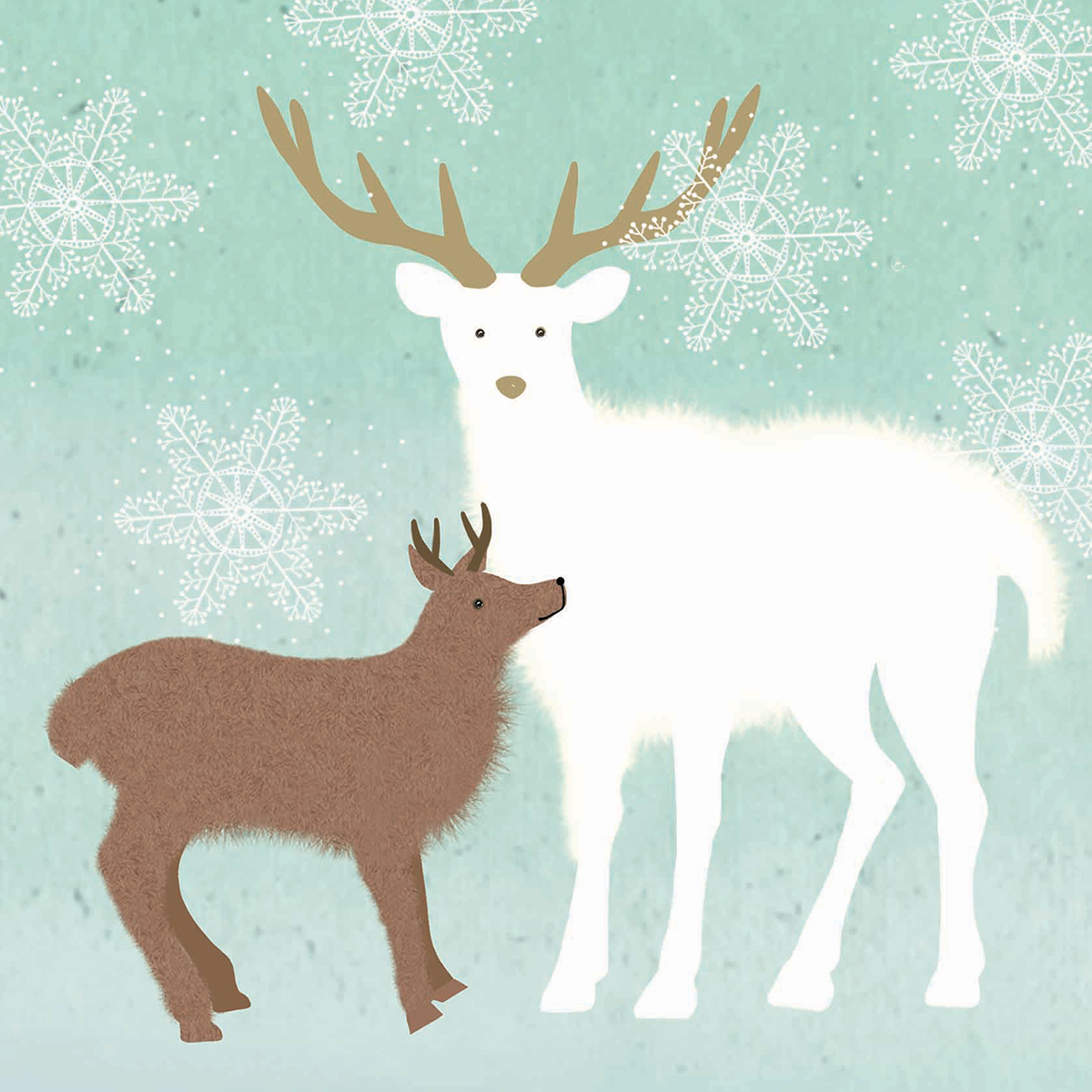 Pack of 10 140mm x 140mm WWF Deer Christmas cards with envelopes ...