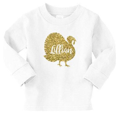 A personal favorite from my Etsy shop https://www.etsy.com/listing/487026949/glitter-turkey-with-name-toddler-tshirt