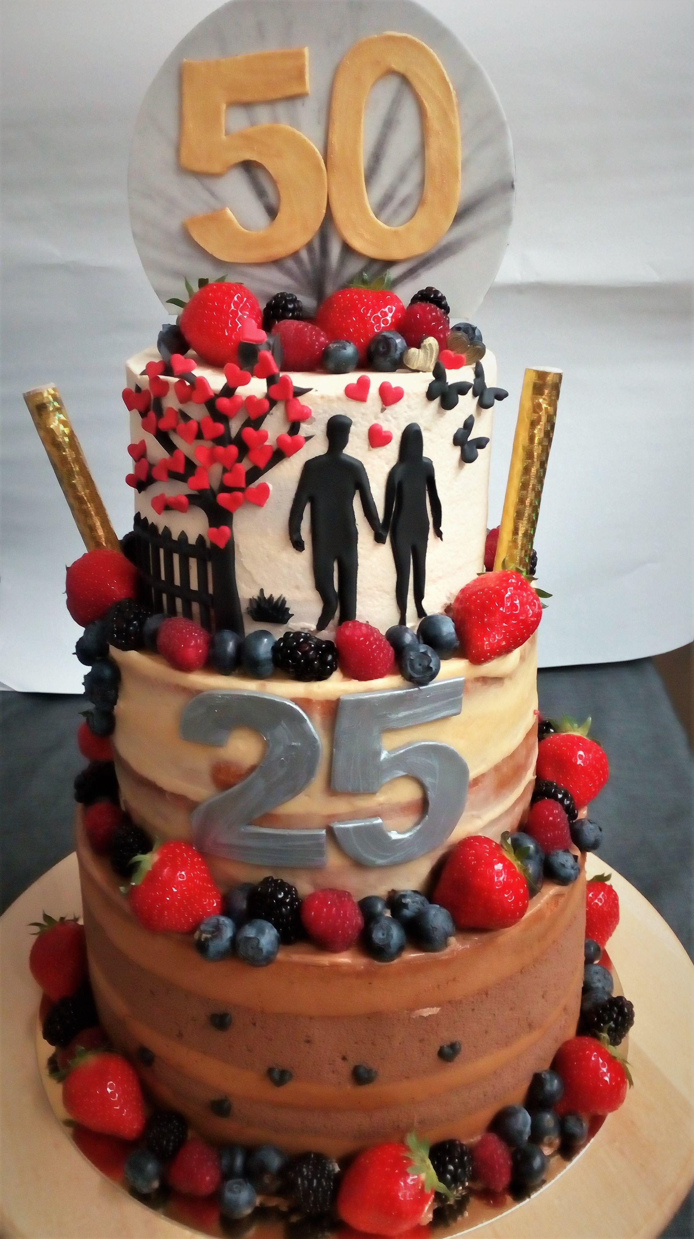 Uitgelezene Thema: 25 jaar getrouwd en 50 jaar worden Taart: biscuit met LJ-51