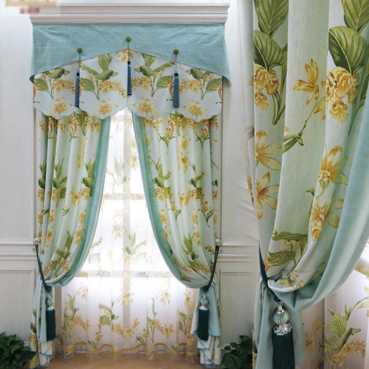 Modern Simple Light Green Fl Blackout Curtains No Valance