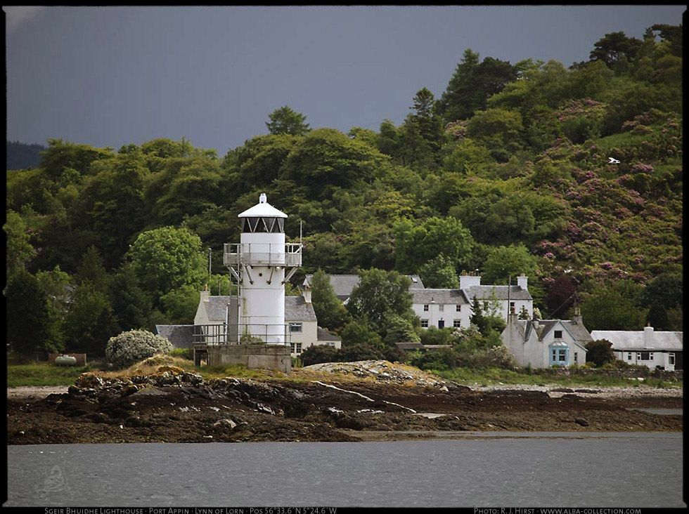 Sgeir Bhuidhe Lighthouse · Port Appin · Lynn of Lorn · Scotland · Pos 56°33.6´N 5°24.6´W