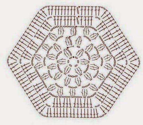 Шестиугольные мотивы крючком. Подборка схем | Crochet Esquemas ...