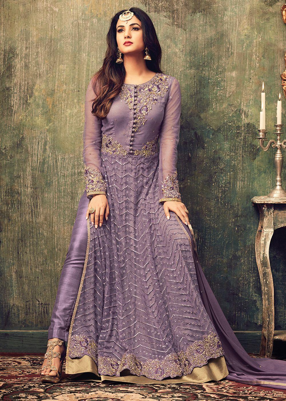33cec6b61cb3a Sonal Chauhan Purple Net Pant Suit   Shaadi stuff   Abaya fashion ...