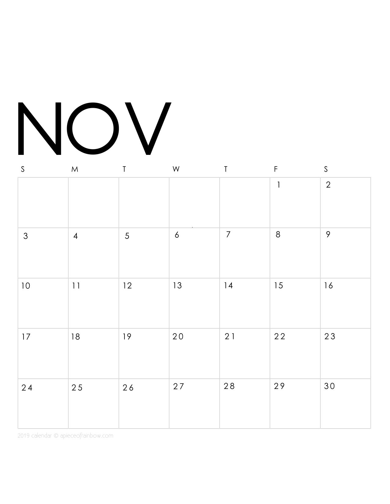 Printable November 2019 Calendar Monthly Planner 2 Designs