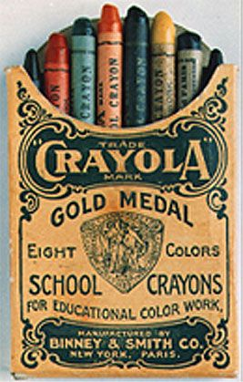 Crayola Crayons, 1903 by Binney & Smith: Inspired by her students who longed for color, Alice Binney and Harold Smith mixed small batches of hand-mixed pigments, paraffin, talc and other waxes. Paper labels were rolled by hand and pasted onto each crayon which were then hand packed into individual boxes and shipped in wooden crates. Eight Crayons sold for 5 cents: red, yellow, orange, green, blue, violet, black, and brown. 'Crayon' came from 'craie' (chalk ) and, oleaginous (oily). aoghs…