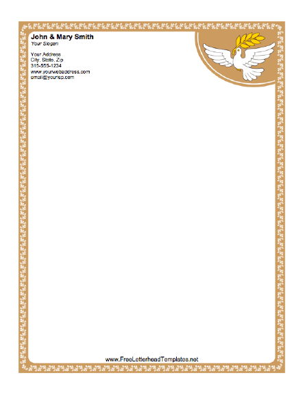 A Peace Dove Carries An Olive Branch On This Religious Bordered Letterhead.  Free To Download