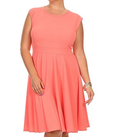Love this Coral Empire-Waist Dress - Plus on #zulily! #zulilyfinds