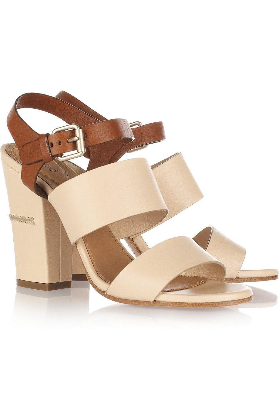 CHLOÉ Two-tone leather sandals. Maybe go a bit more natural w  the wedding  shoes since I ll be traipsing through a field  71fb4d97de8